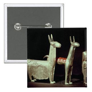 Llama, alpaca and woman pinback button