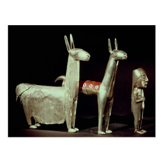 Llama, alpaca and woman postcard