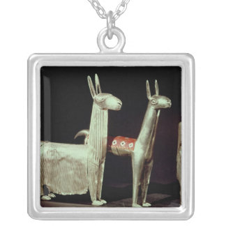 Llama, alpaca and woman silver plated necklace