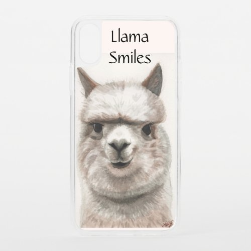Llama Alpaca Smiles Clear Bumper iPhone XS Case