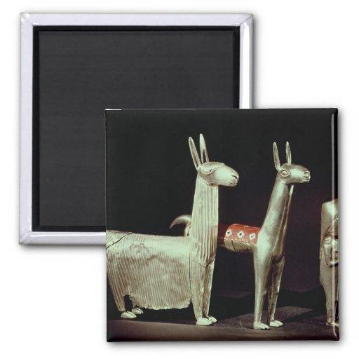 Llama, alpaca y mujer imán de nevera