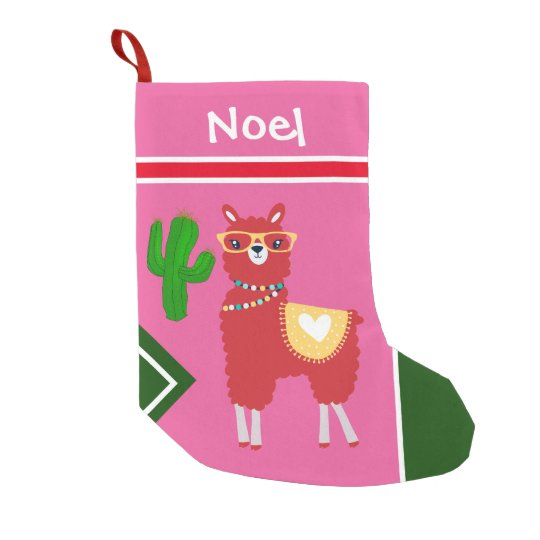 Llama Christmas Stocking.Llama And Cactus Art Personalize Small Christmas Stocking