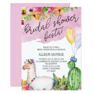 Llama and Cactus Bridal Shower Fiesta Invitation