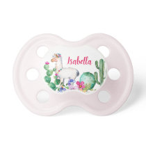 Llama and Cactus Floral Monogram Pacifier