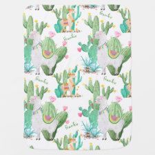 Llama and Cactus Pattern - White Personalized Baby Blanket