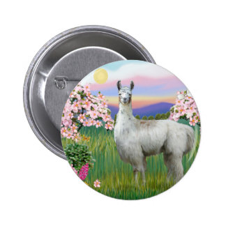 Llama and Spring Blossoms Pinback Button
