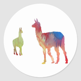 Llama art classic round sticker