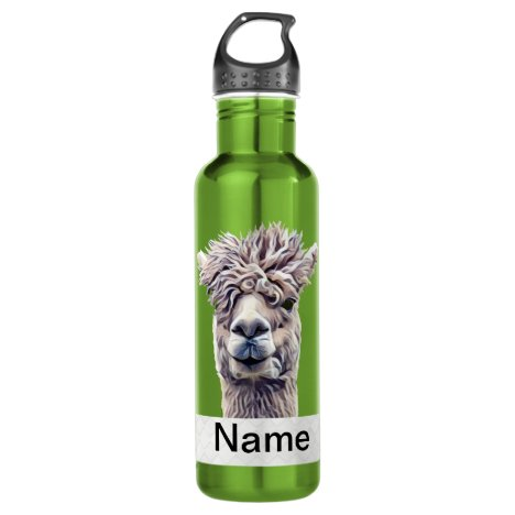 Llama Art Personalized name Color Stainless Steel Water Bottle