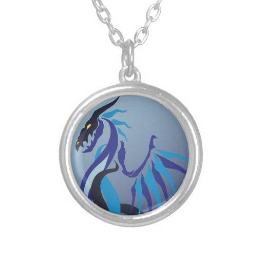 Llama azul del dragón pendientes personalizados