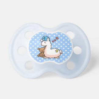 Llama azul del pijama del gorra chupetes de bebé