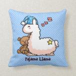 Llama azul del pijama del gorra cojin