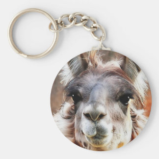 Llama Basic Round Button Keychain