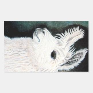 Llama blanca pegatina rectangular
