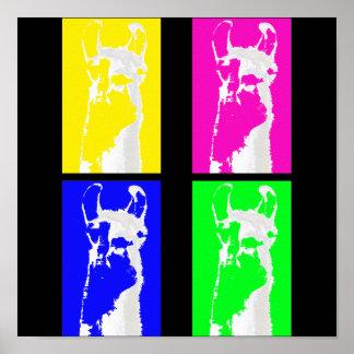 llama-blocks graphic print poster