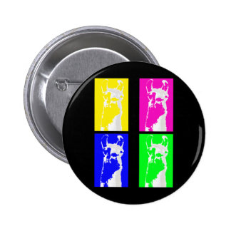 Llama Blocks in Bright Colors on everything Pinback Button