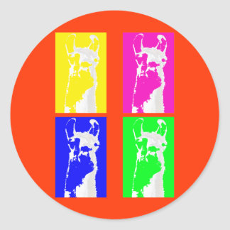 Llama Blocks in Bright Colors on everything Round Sticker