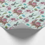 Llama   blue   Wrapping Paper