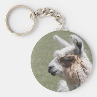 Llama Blush Basic Round Button Keychain