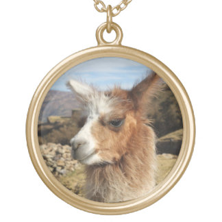 Llama Brown Close up Head Gold Plated Necklace