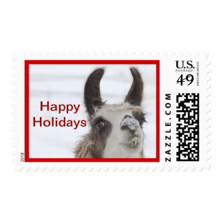 Llama Christmas Postage Stamp with Snow on Nose