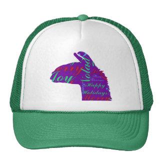 Llama Christmas: Text Merry Christmas, Peace, Joy Hats