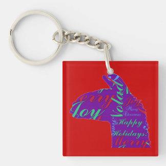 Llama Christmas: Text Merry Christmas, Peace, Joy Keychain
