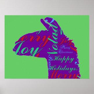 Llama Christmas: Text Merry Christmas, Peace, Joy Poster