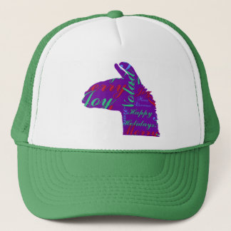Llama Christmas: Text Merry Christmas, Peace, Joy Trucker Hat