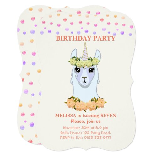 Llama-corn 7th Birthday Party Invitation