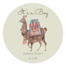 Llama cute Animal | Baby hower boy | Round Sticker