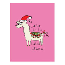 Llama Cute Funny Christmas Holiday Postcard