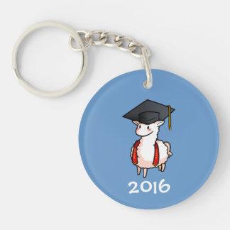 Llama de la graduación llavero redondo acrílico a doble cara