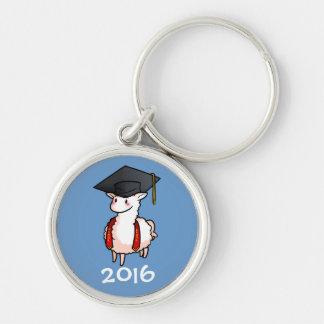 Llama de la graduación llavero redondo plateado