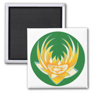 Llama de LOTUS en base verde Imán Cuadrado