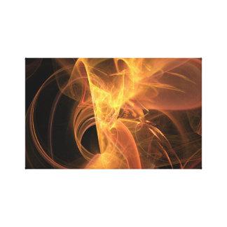 Llama de oro del fractal del extracto del remolino impresión de lienzo