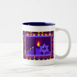 llama de vela 9 en la frontera púrpura-lavend 1 de taza de café