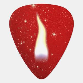 Llama de vela del día de fiesta púa de guitarra