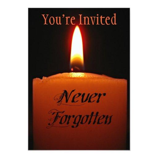 """Llama de vela nunca olvidada de la conmemoración invitación 5"""" x 7"""""""