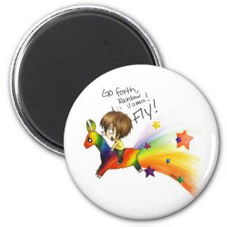 Llama del arco iris imán redondo 5 cm
