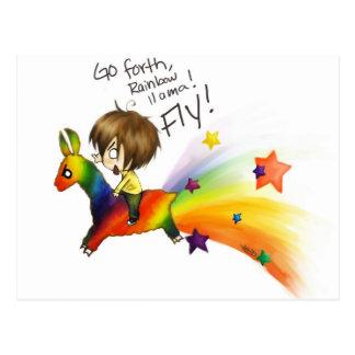 Llama del arco iris postales