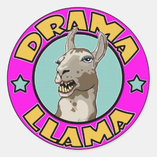 Llama del drama, pegatina redonda