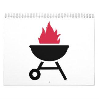 Llama del fuego rojo de la barbacoa calendarios de pared