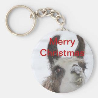 Llama del navidad con nieve en la nariz para los d llavero redondo tipo pin