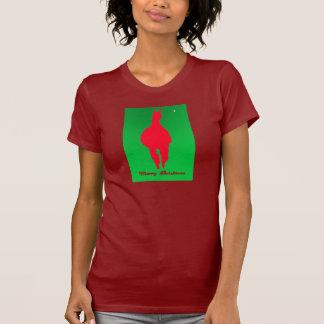 Llama del navidad: Llama en verde rojo de w - Poleras