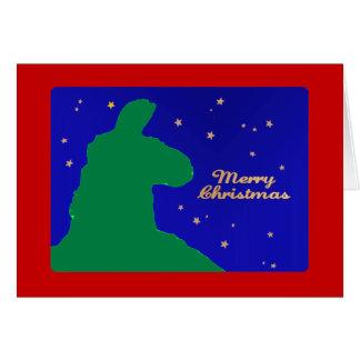 Llama del navidad: Llama masculina en silhoutte de Tarjeta De Felicitación