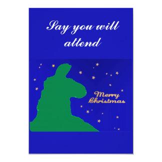 """Llama del navidad: Llama masculina en silhoutte Invitación 5"""" X 7"""""""