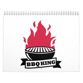 Llama del rojo del rey del Bbq Calendario De Pared