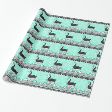 Aztec Themed Llama dot gift wrap wrapping paper