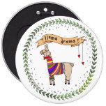 Llama Drama Badge, Rainbow Llama Pinback Button
