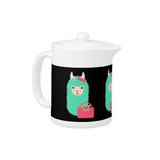 Llama Emoji Girly Emoji Teapot